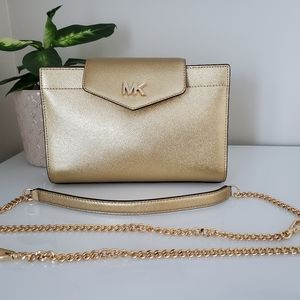 MK Large Metallic Crossgain Leather Clutch